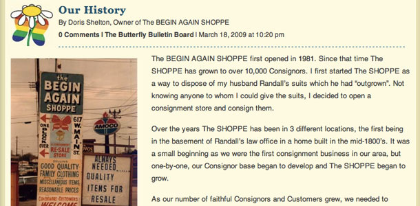 The Begin Again Shoppe History Page