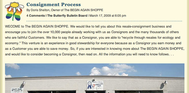 The Begin Again Shoppe Consignment Process Page