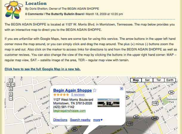 The Begin Again Shoppe Location Page