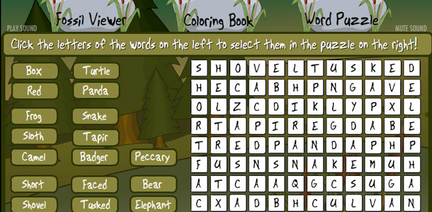 Natural History Museum Kids Microsite Word Search Puzzle