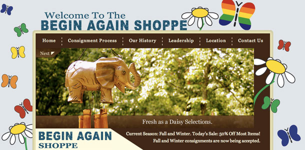 The Begin Again Shoppe Home Page
