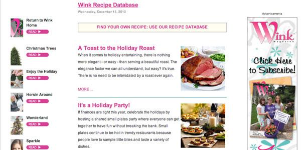 Wink Magazine Recipe Database