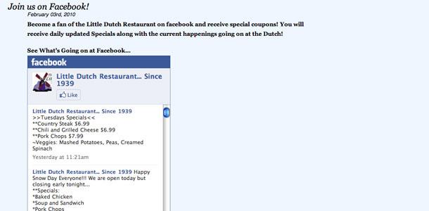 LittleDutchRestaurant.com Facebook Integration
